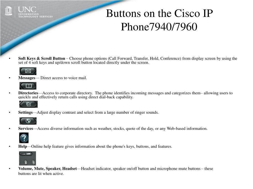 Buttons on the Cisco IP Phone7940/7960