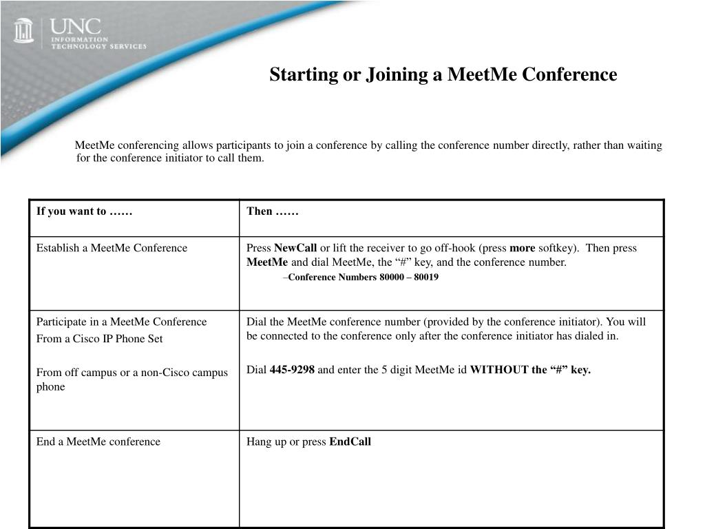 Starting or Joining a MeetMe Conference