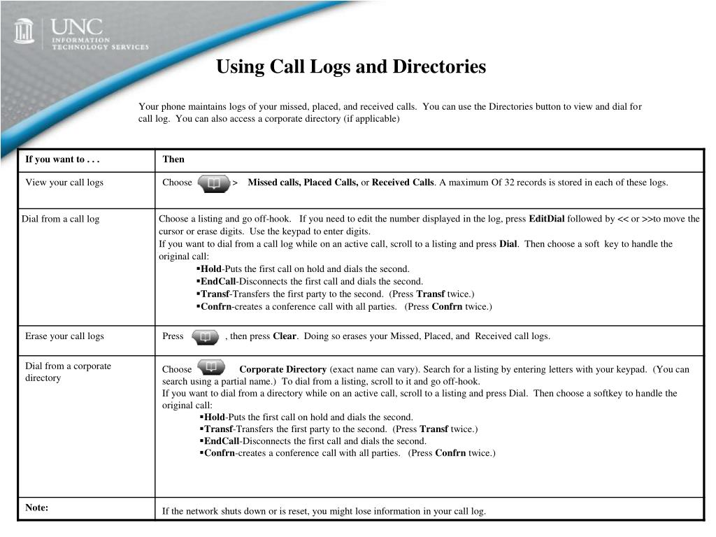 Using Call Logs and Directories