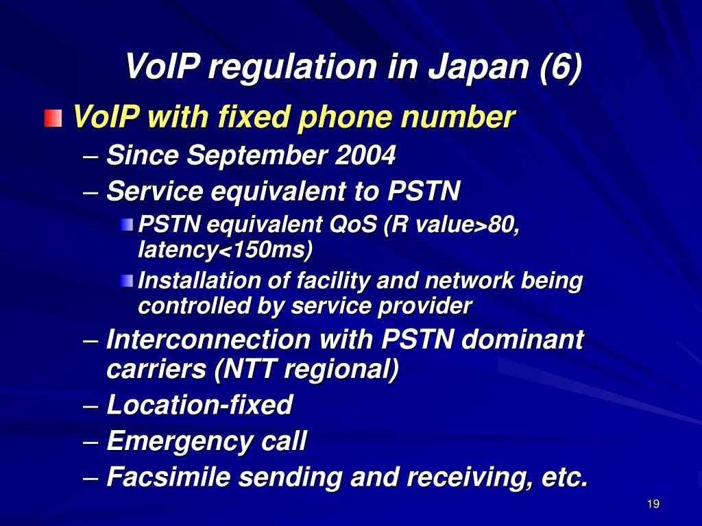 VoIP regulation in Japan (6)