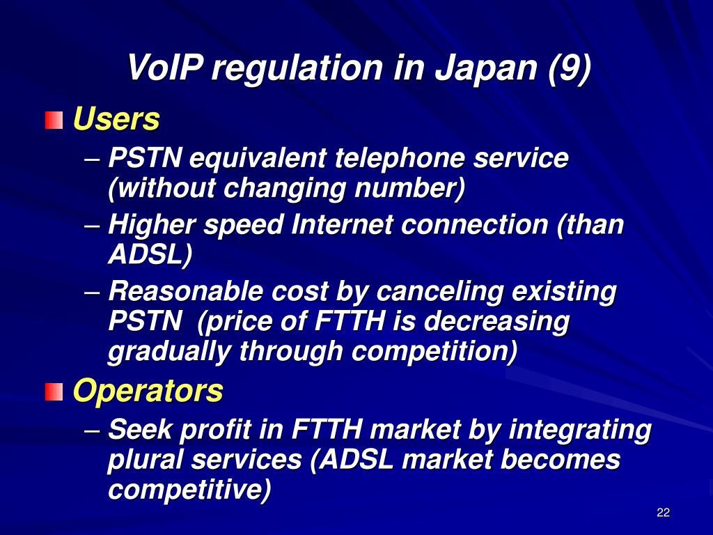 VoIP regulation in Japan (9)