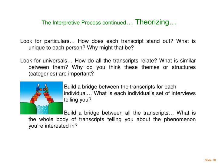The Interpretive Process continued