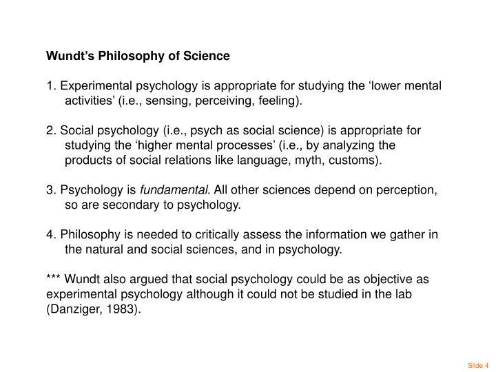 Wundt's Philosophy of Science