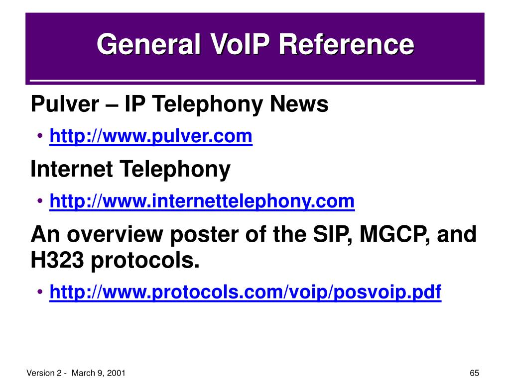 General VoIP Reference