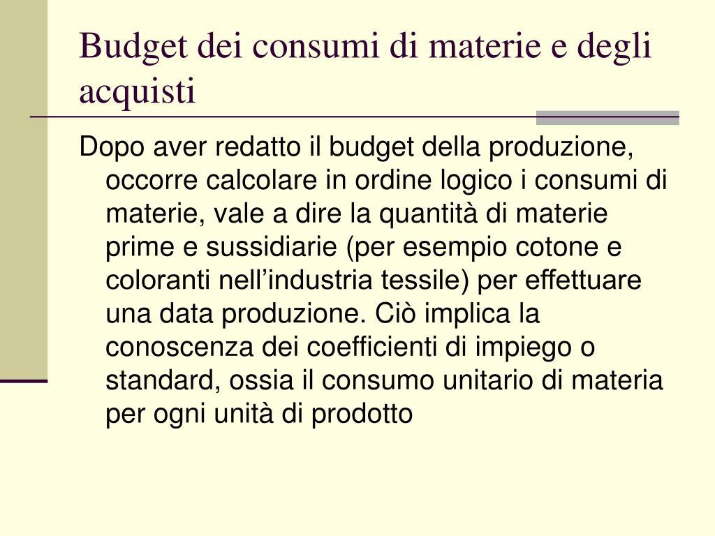Budget dei consumi di materie e degli acquisti