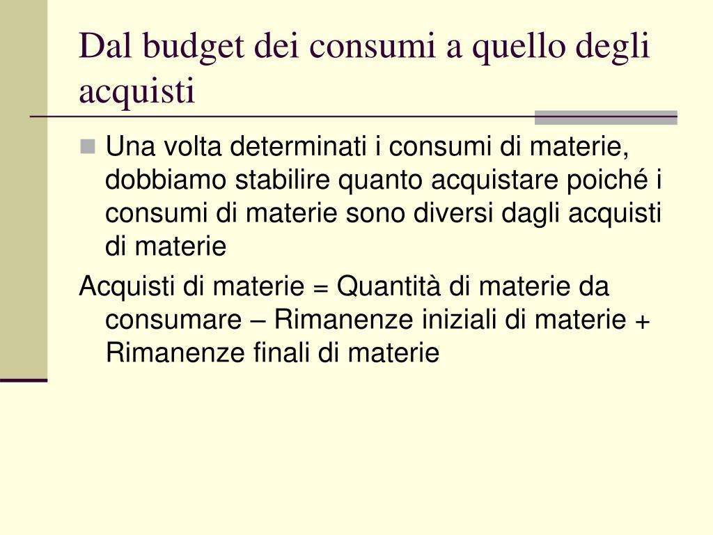 Dal budget dei consumi a quello degli acquisti