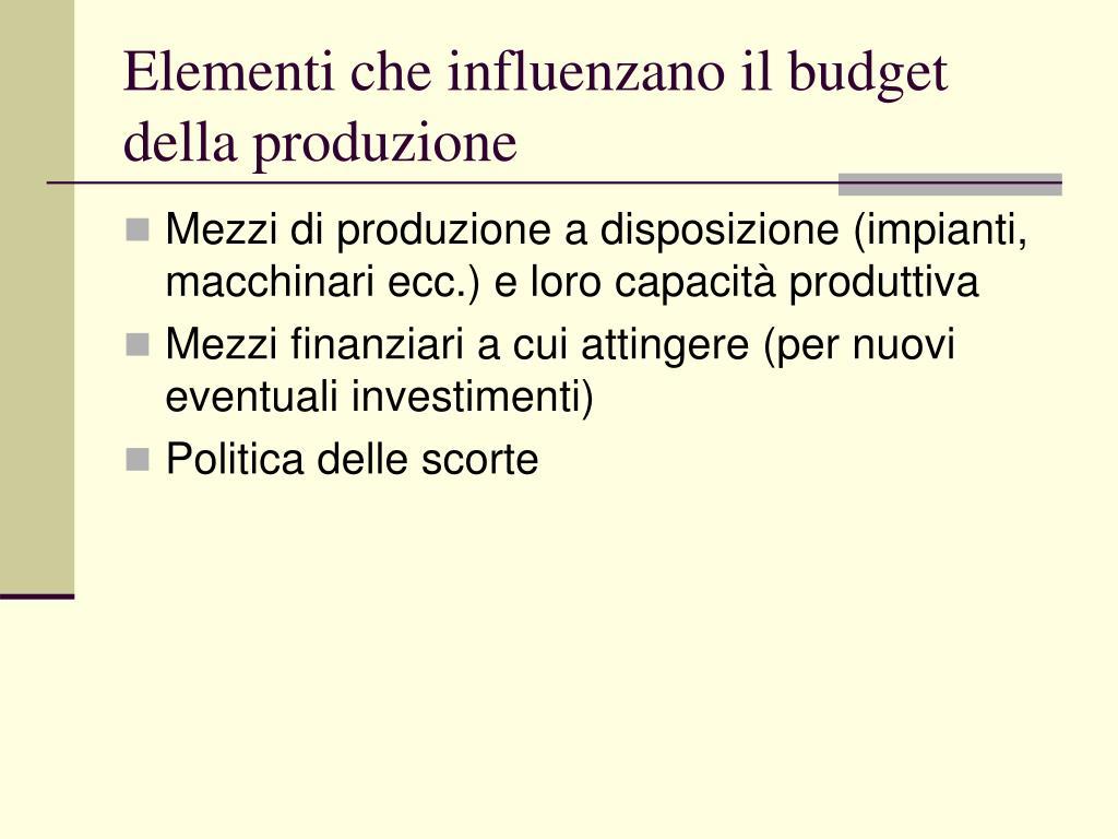 Elementi che influenzano il budget della produzione