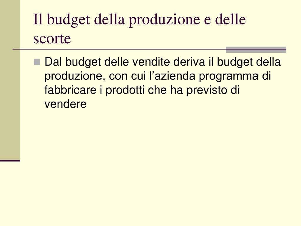 Il budget della produzione e delle scorte