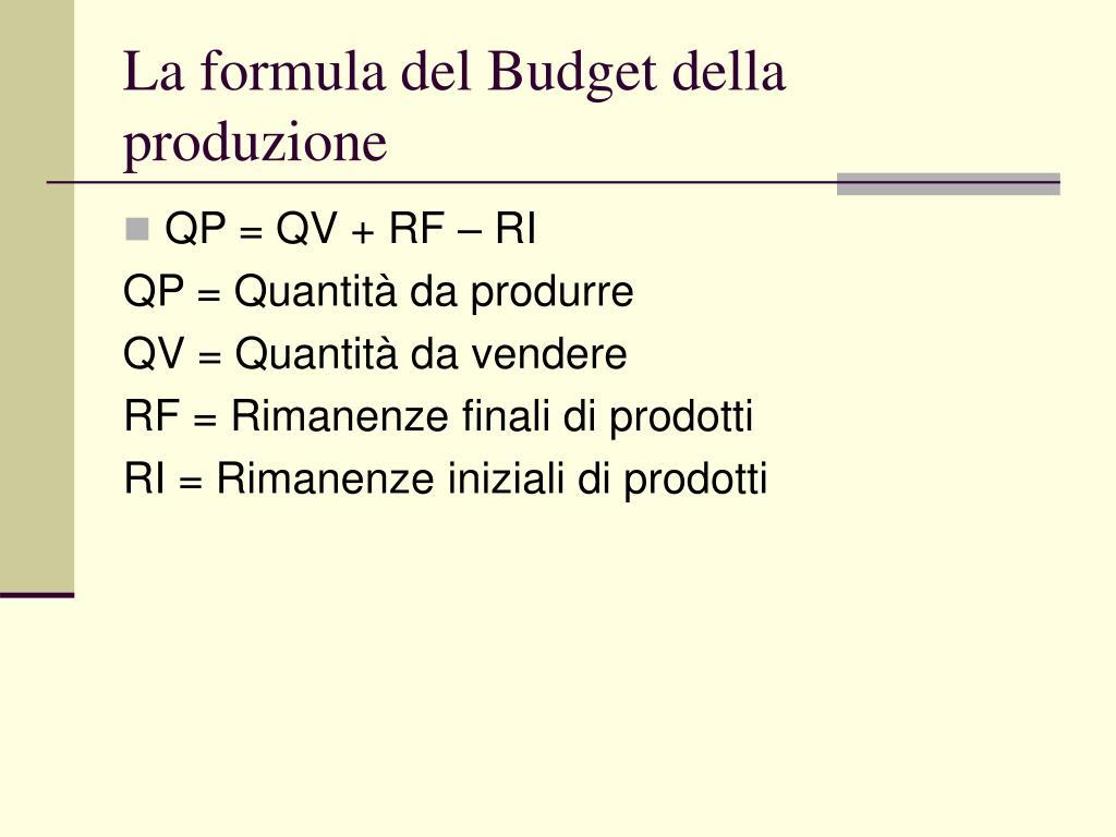 La formula del Budget della produzione