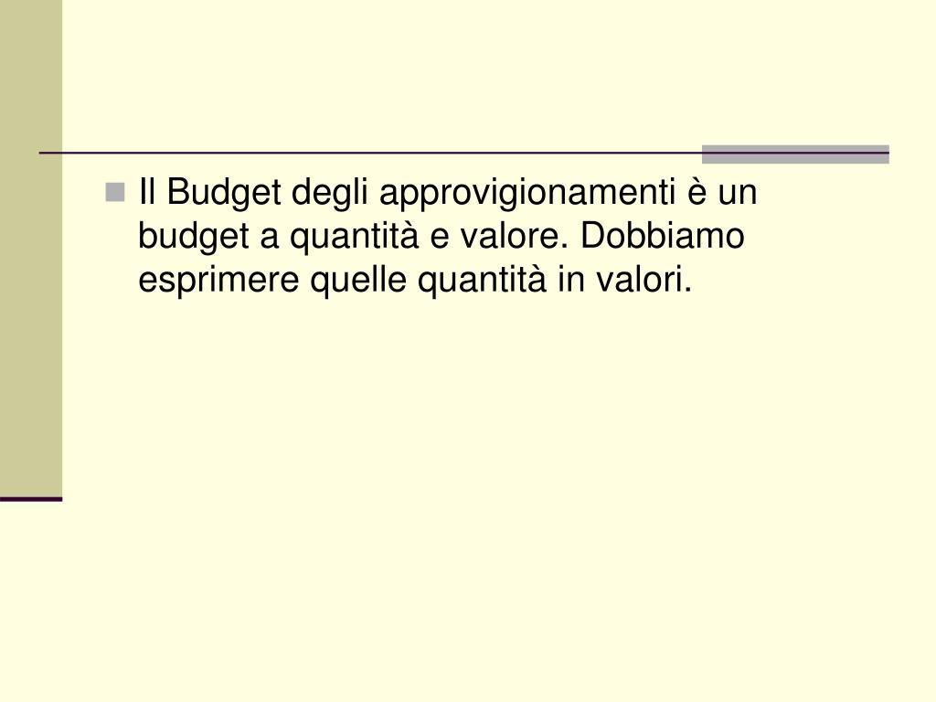 Il Budget degli approvigionamenti è un budget a quantità e valore. Dobbiamo esprimere quelle quantità in valori.