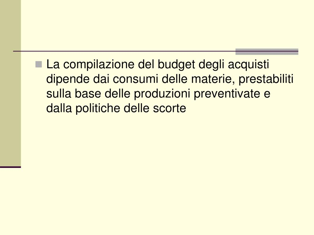 La compilazione del budget degli acquisti dipende dai consumi delle materie, prestabiliti sulla base delle produzioni preventivate e dalla politiche delle scorte