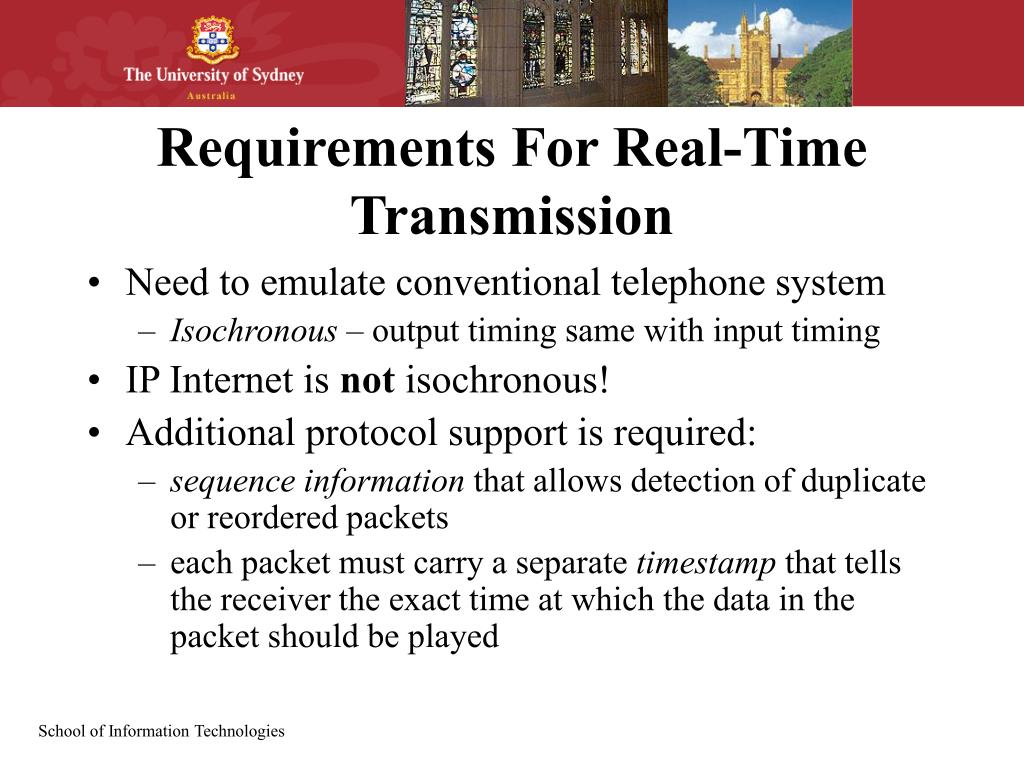 Requirements For Real-Time Transmission