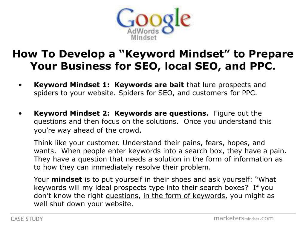 "How To Develop a ""Keyword Mindset"" to Prepare Your Business for SEO, local SEO, and PPC."