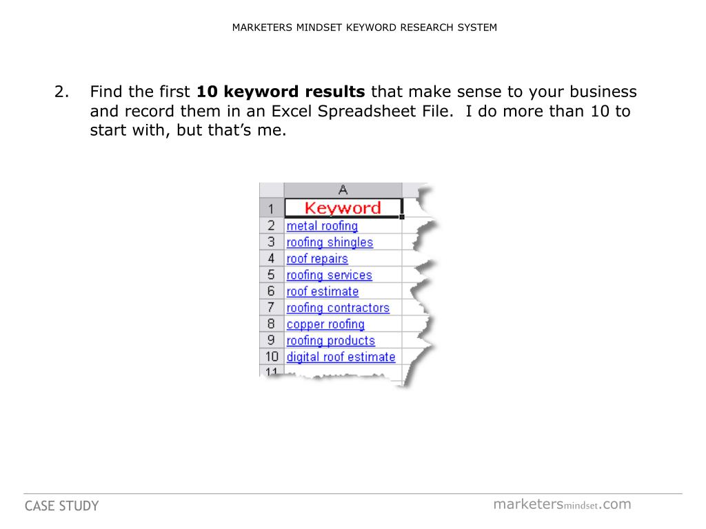 MARKETERS MINDSET KEYWORD RESEARCH SYSTEM