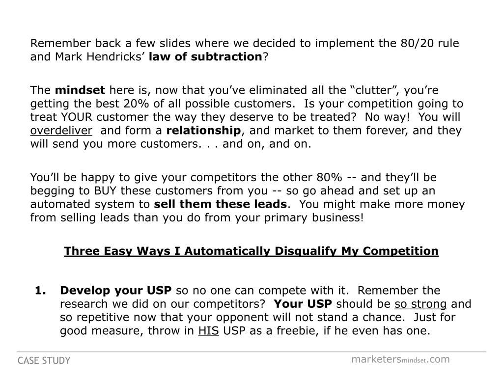 Remember back a few slides where we decided to implement the 80/20 rule and Mark Hendricks'