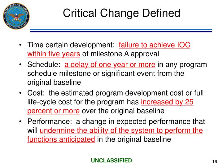Critical Change Defined