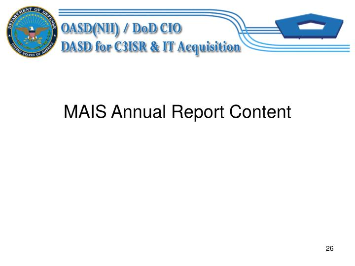 MAIS Annual Report Content