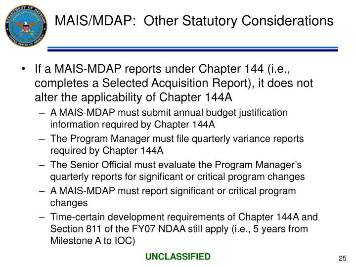 MAIS/MDAP:  Other Statutory Considerations