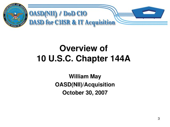 Overview of 10 u s c chapter 144a