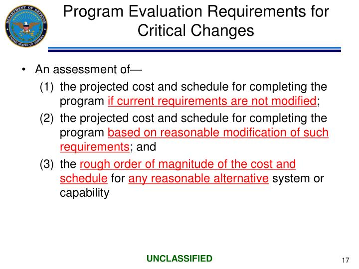 Program Evaluation Requirements for Critical Changes