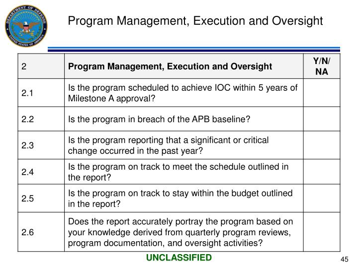 Program Management, Execution and Oversight