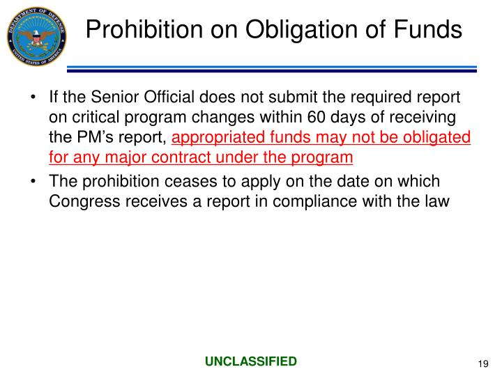 Prohibition on Obligation of Funds
