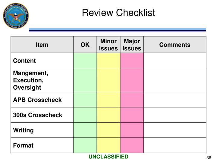 Review Checklist