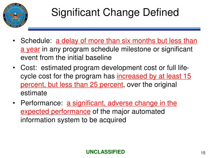 Significant Change Defined