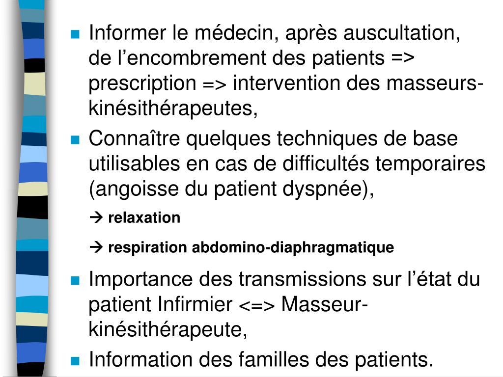 Informer le médecin, après auscultation, de l'encombrement des patients => prescription => intervention des masseurs-kinésithérapeutes,