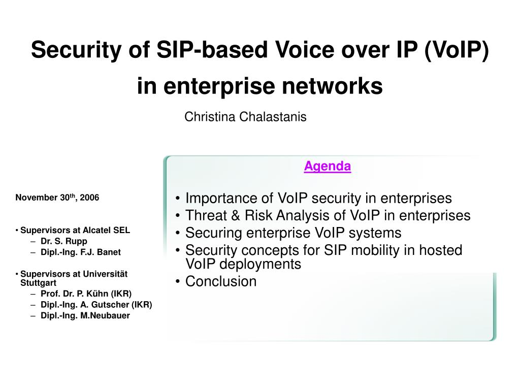 Security of SIP-based Voice over IP (VoIP)  in enterprise networks