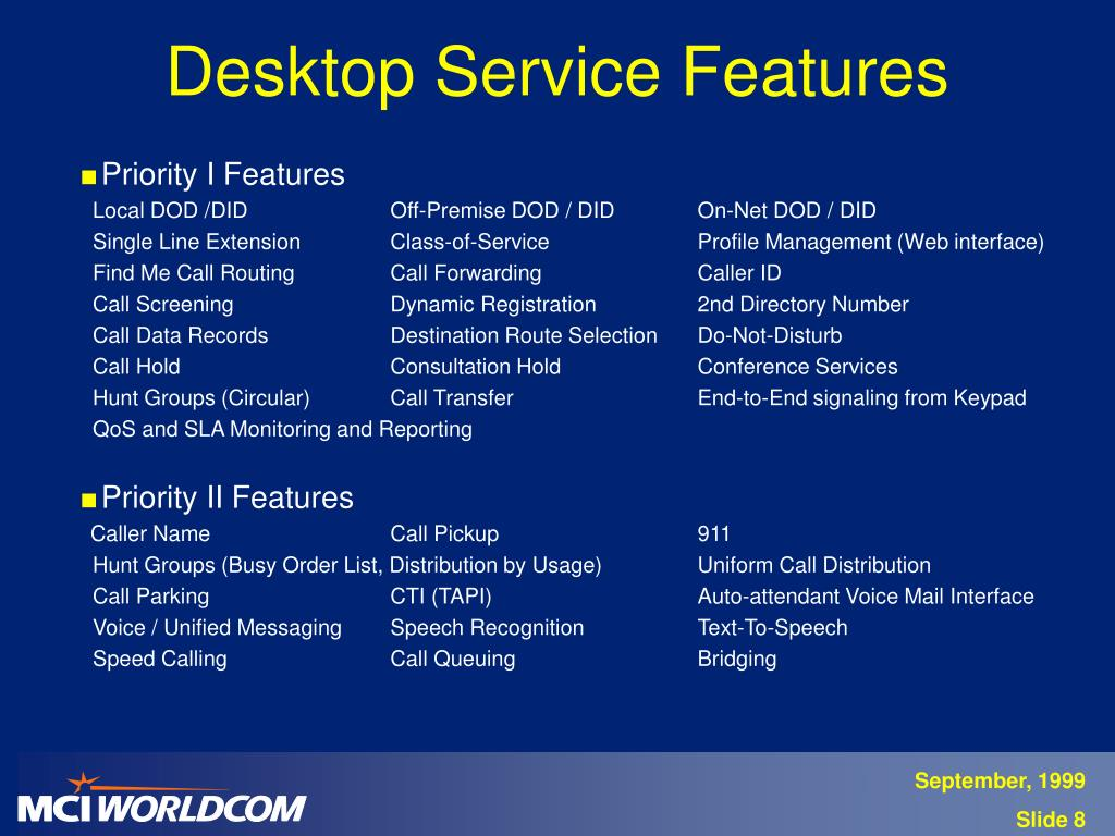 Desktop Service Features
