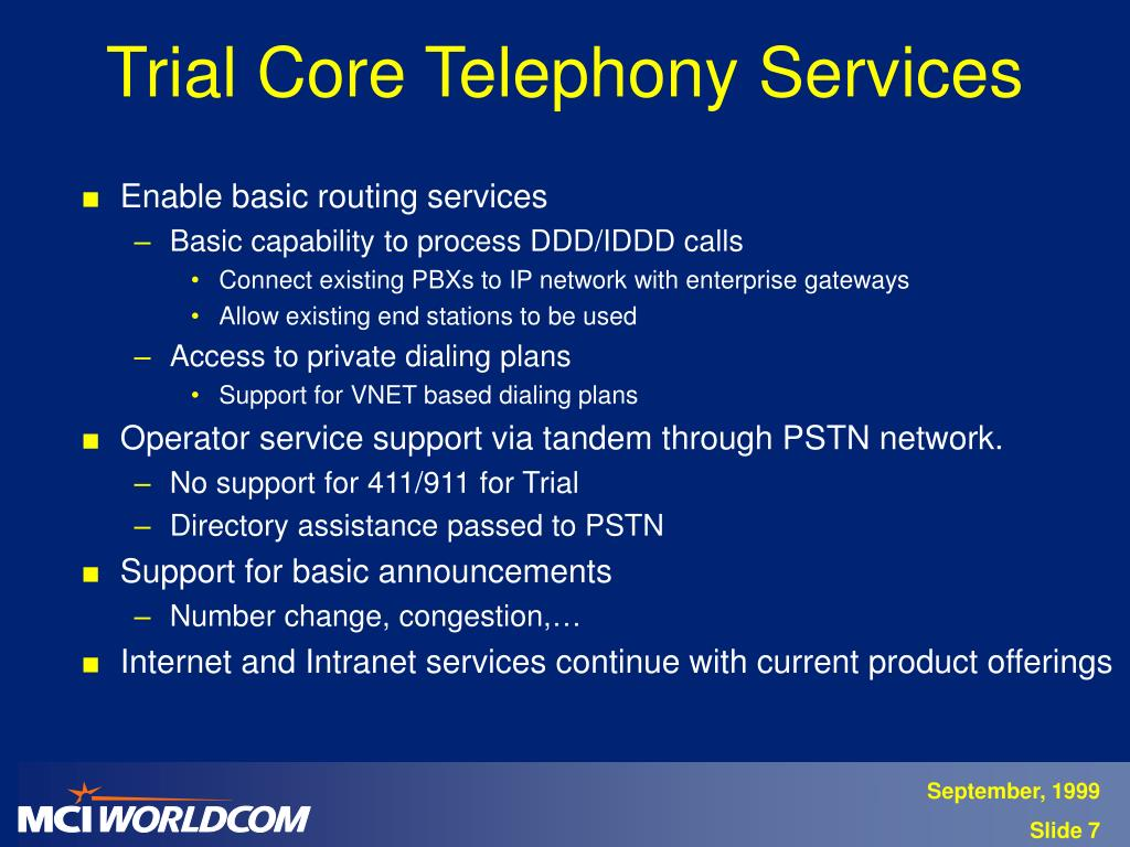 Trial Core Telephony Services