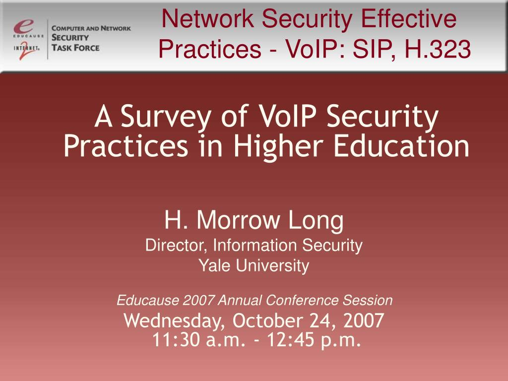 Network Security Effective Practices - VoIP: SIP, H.323