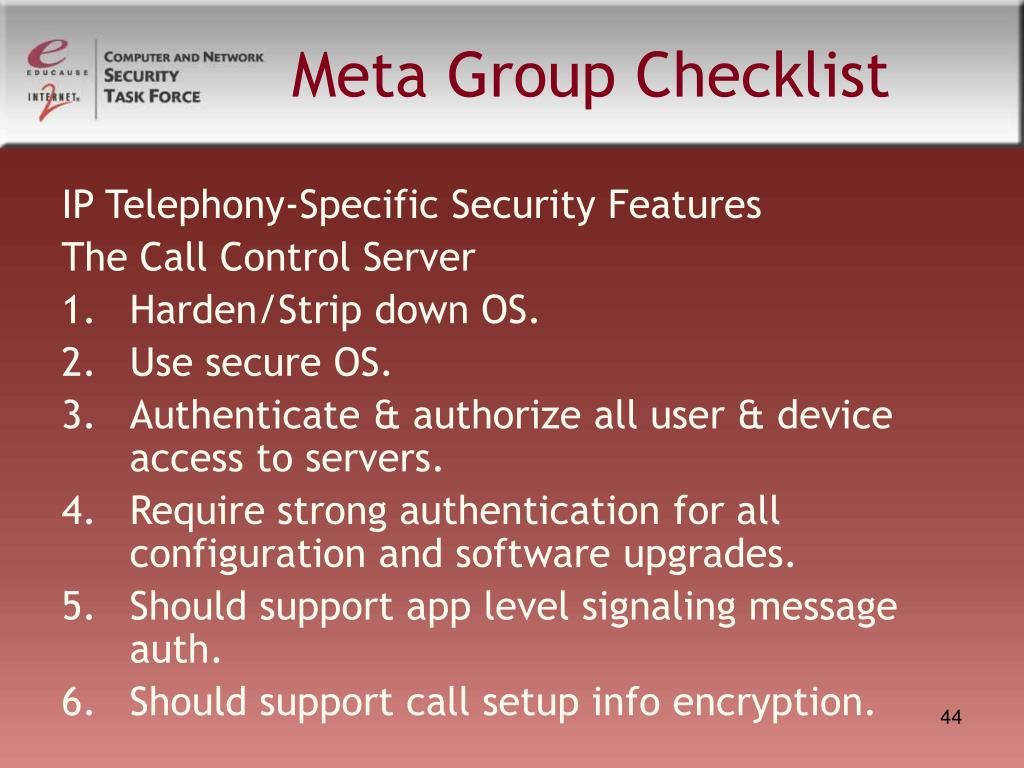 Meta Group Checklist
