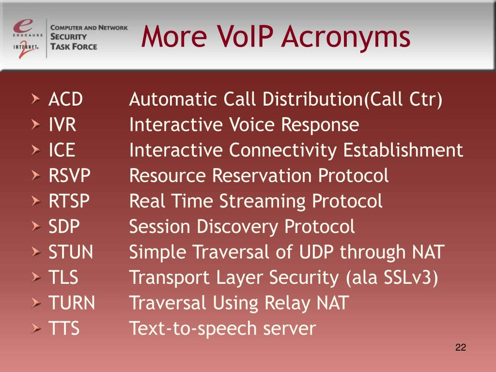 More VoIP Acronyms