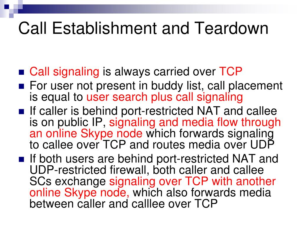 Call Establishment and Teardown