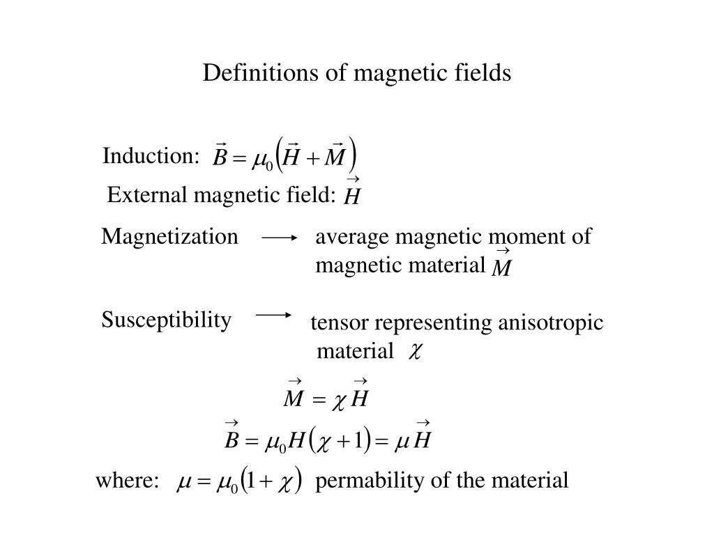 Definitions of magnetic fields