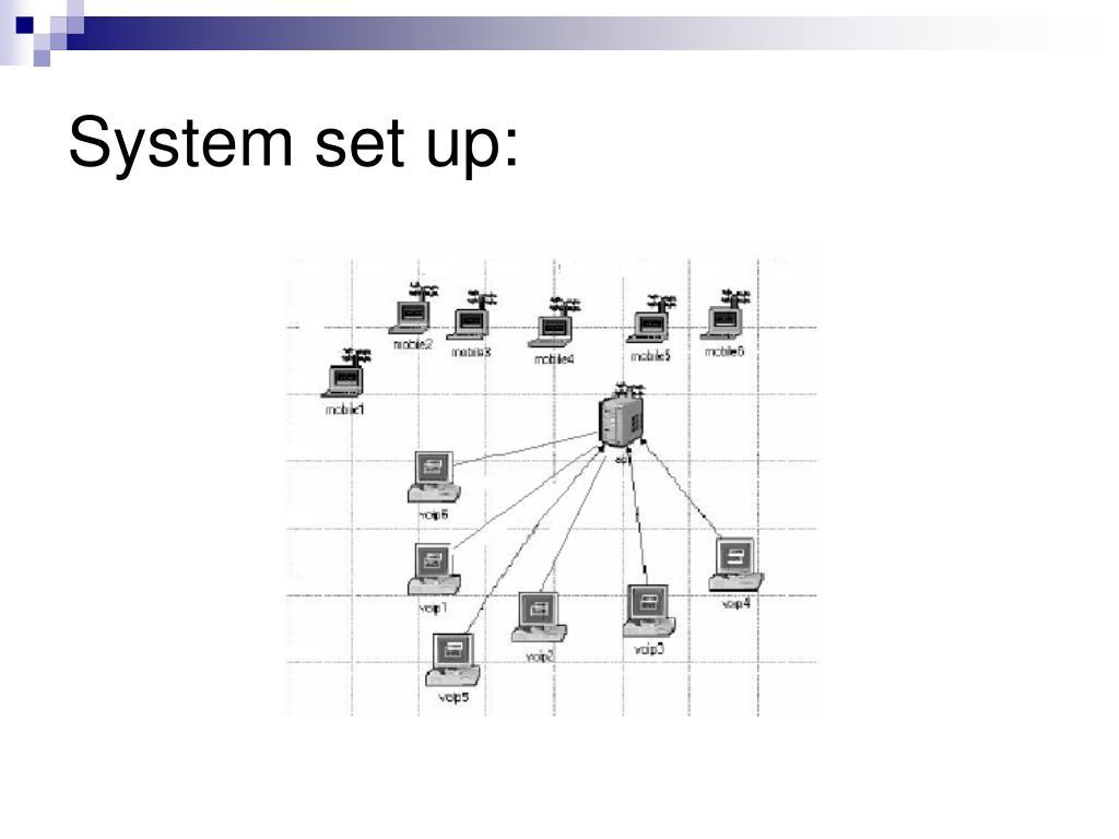 System set up: