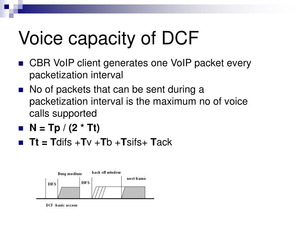 Voice capacity of DCF