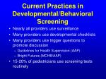 current practices in developmental behavioral screening