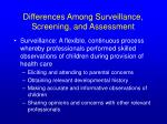 differences among surveillance screening and assessment