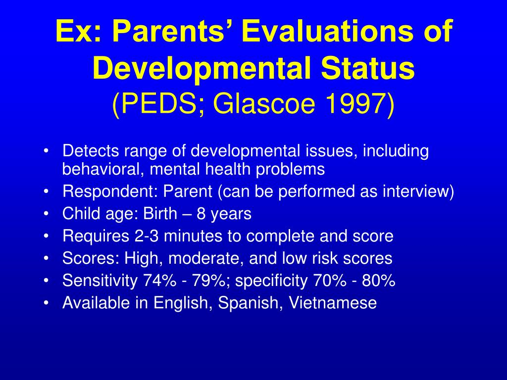 Ex: Parents' Evaluations of Developmental Status