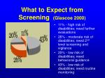 what to expect from screening glascoe 2000