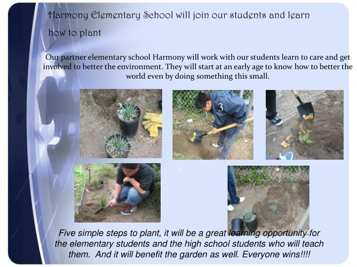 Harmony Elementary School will join our students and learn how to plant