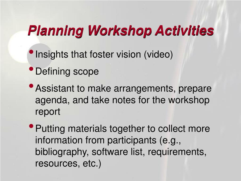 Planning Workshop Activities