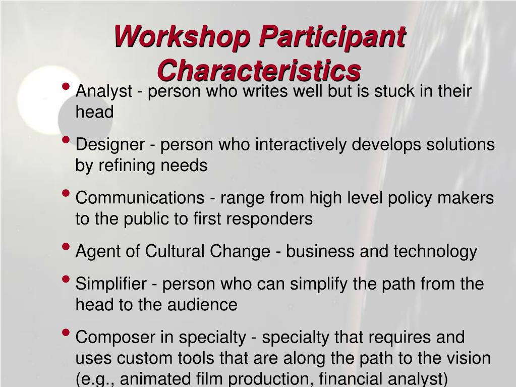 Workshop Participant Characteristics