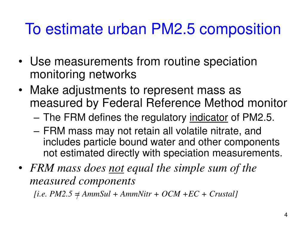 To estimate urban PM2.5 composition