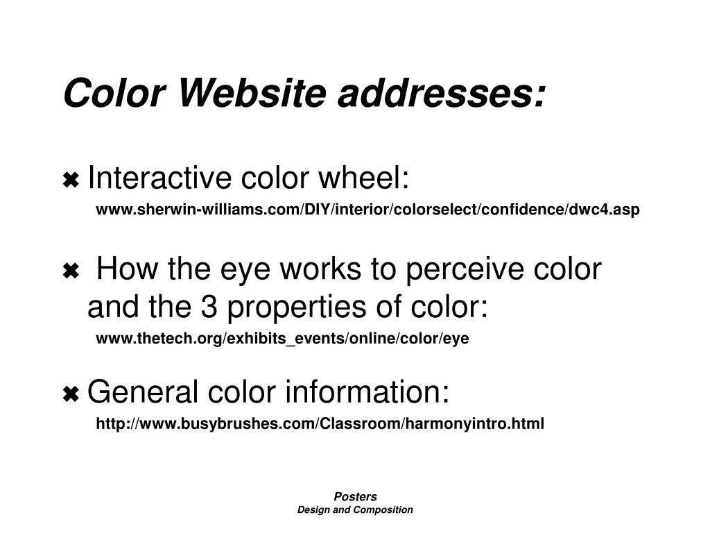 Color Website addresses: