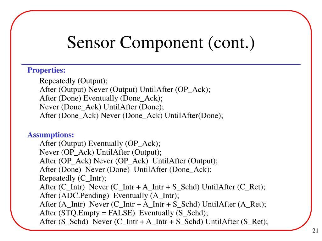 Sensor Component (cont.)