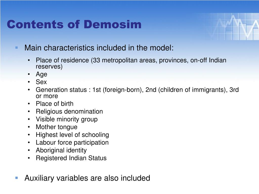 Main characteristics included in the model: